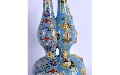 A RARE CHINESE IMITATION CLOISONNE CONJOINED VASE 20th Centu...