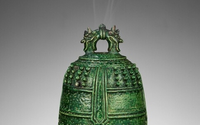 A RARE EMERALD-GREEN GLAZED CERAMIC 'BUDDHIST TEMPLE BELL' CENSER AND COVER, MING DYNASTY