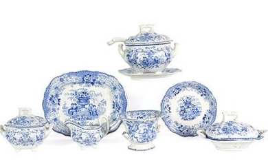 A Staffordshire Pottery Miniature Dinner Service, possibly William Ridgeway, 1830-40,...