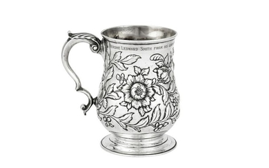 A Victorian sterling silver pint mug, London 1896 by