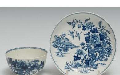 A Worcester Fence pattern tea bowl and saucer, printed in un...