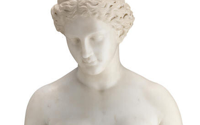 A late 19th / early 20th century carved white marble bust of a classical maiden, possibly depicting Sappho