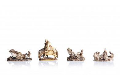 A lot of two ivory okimono netsuke and two ivory okimono: Monk on a horse led by a boy, signed…Read more