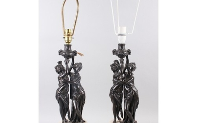 A pair of late 19th century bronze gilt brass and marble tab...