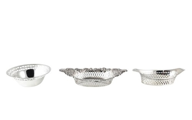 AN INTERESTING COLLECTION OF THREE BON BON DISHES, comprisin...