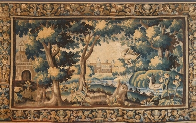 AUBUSSON - EARLY 18th CENTURY Aubusson tapestry in wool and...