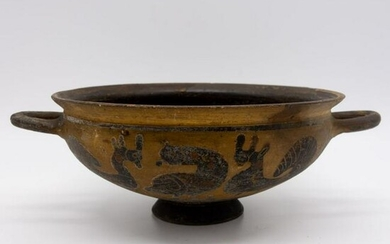 Antique Etruscan? Incised Ptd Pottery Kylix Wine Vessel