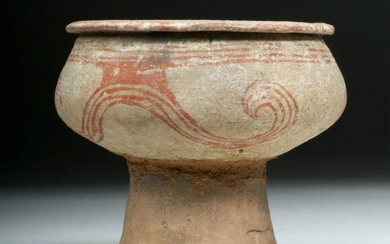Ancient Thai Ban Chiang Pottery Stemmed Vessel