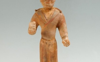 CHINESE TANG DYNASTY POTTERY GROOM FIGURE