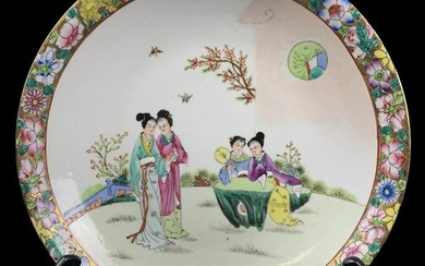 Chinese Hand Painted Porcelain Figural Bowl