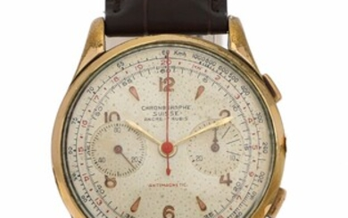 NOT SOLD. Chronographe Suisse: A gentleman's wristwatch of steel and gold plated metal, ref. 191C....