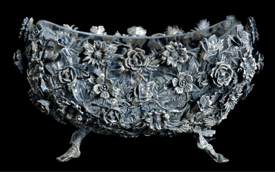 Continental Silver Floral Bowl w/ Crystal Liner