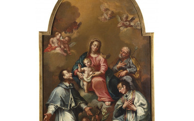 Cremonese school, 18th century Madonna in glory with Child, Saint Joseph and Saints Oil on shaped canvas, 83.5x51 cm. On…Read more