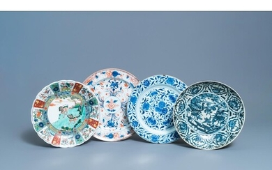 Four Chinese blue and white, Imari-style and famille verte d...