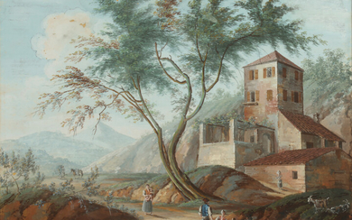 ITALIAN SCHOOL (19th century). RURAL MOUNTAIN LANDSCAPE WITH DWELLING AND...