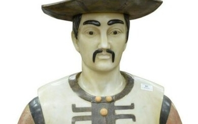 Italian White and Variegated Marble Bust of an Asian