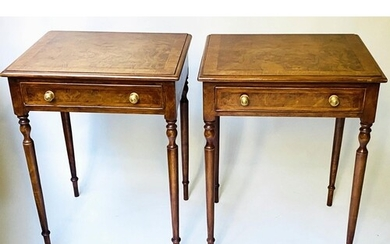 LAMP TABLES, a pair, George III style burr walnut and crossb...
