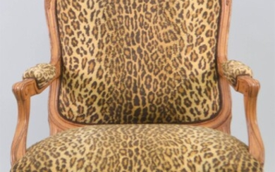 LOUIS XV STYLE BEECHWOOD STAINED FAUTEUIL