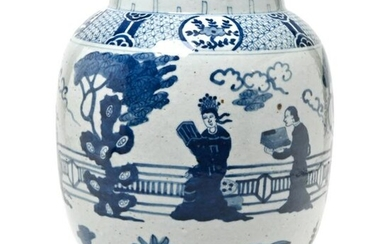 Large Chinese Blue and White Figural Jar