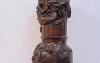Large Japanese bronze vase with applied dragons, birds