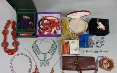 Large collection of costume jewellery to include a silver co...