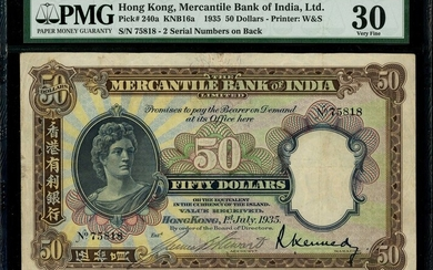 Mercantile Bank of India, $50, 1.7.1935, black serial number 75818, (Pick 240a)