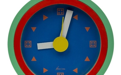 Nathalie du Pasquier (French b.1957) and George Sowden (British b.1942), a wall clock for Neos of Lorenz, c.1988, cast manufacturer's marks to reverse - 'Neos of Lorenz Design Du Pasquier Sowden Made in Italy', Of circular form, with blue enamelled...