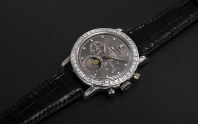 PATEK PHILIPPE, REF. 3990P, A RARE PLATINUM AND DIAMOND-SET PERPETUAL CALENDAR CHRONOGRAPH WRISTWATCH