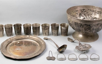 PLATED 'HUNTING' PUNCH BOWL, EIGHT MATCHED CUPS, PLATED STAND, FIVE STIEFF PEWTER LIQUOR PLAQUES, A GORHAM SILVER LADLE AND A BONBONNIERE