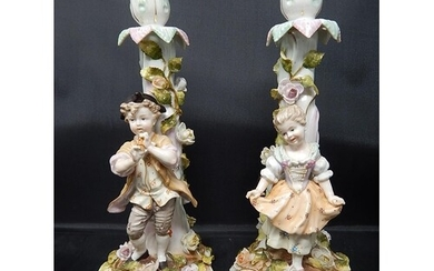 Pair of Early C19th Figural Candlesticks Depicting a Boy Pla...