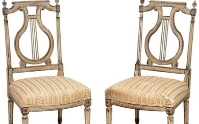 Pair of George Jacob (attr.) Chauffeuse Side Chairs