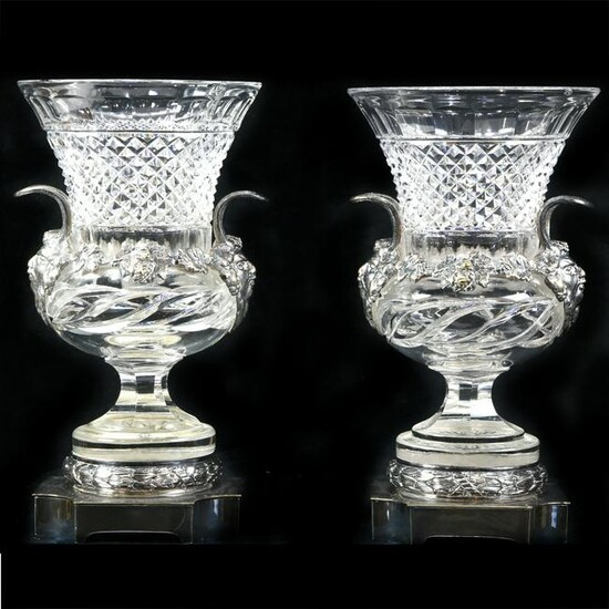 Pair of Pairpoint cut glass and bronze mounted vases