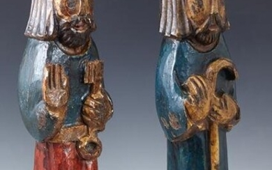 Pair of Polychromed Carved Wood Saints Figures, 19th