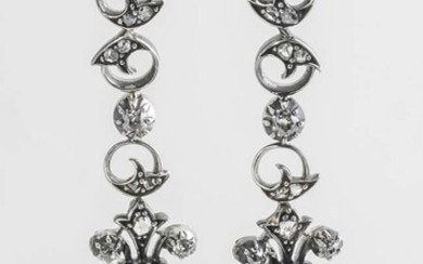 Pair of Victorian Silver-Topped, Yellow Gold and Diamond Pierced Pendant Earrings, Last Half 19th Century