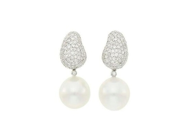 Pair of White Gold, South Sea Cultured Pearl and