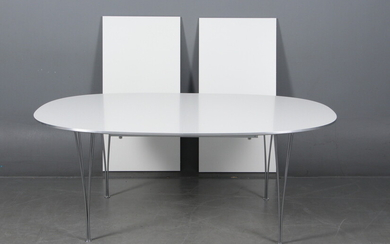 Piet Hein and Bruno Mathsson. Super Ellipse dining table with extension and extension leaves (3)