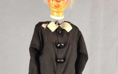 """Puppet from the puppet theatre """"Priest"""", polychrome painted ceramic, grey hair wreath made of rabbi"""
