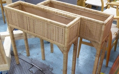 RATTAN AND BAMBOO PLANTERS, a pair, 78cm x 23cm x 80cm. (2)