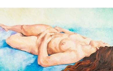 RICK ROBERTS OIL PAINTING ON BOARD Girl with the Flowing H...