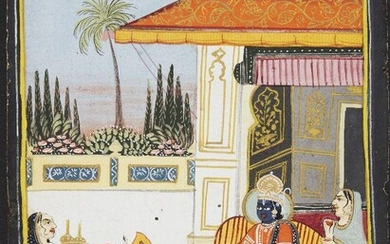 Rama and Sita seated on a terrace in conversation with attendants, Mewar, 19th century, opaque pigments on paper, 18 x 13.1cm Provenance: Private German Collection formed in the 1970s