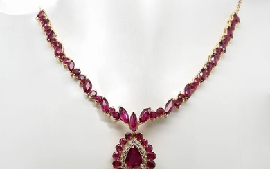 Rare -18.96ctw Burma / Thailand Not-Heated Rubies and Natural Diamonds - 18 kt. Gold - Necklace Rubies - ***NO RESERVE PRICE***