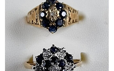 Two 9ct gold sapphire and diamond cluster rings, 4.8 gm