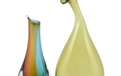 William Yeoward: a pale-yellow glass naturalistically shaped vase