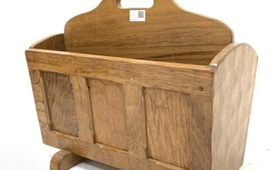Yorkshire Oak adzed and panelled two division magazine rack...