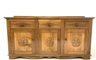 Yorkshire oak sideboard, three drawers over three fielded panelled...