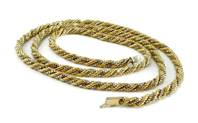 18K GOLD ROPE AND BOX LINK CHAIN NECKLACE 44 Gr, 28 In.