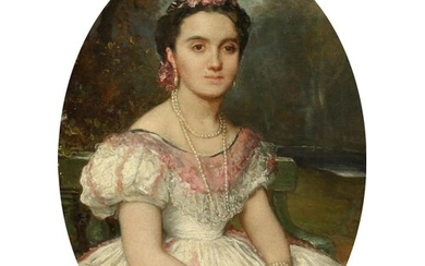 19th Century Continental School, A portrait of a seated lady...