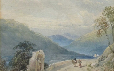 19th Century Continental lake scene with travellers on a path near a shrine, 17 x 25cm, together