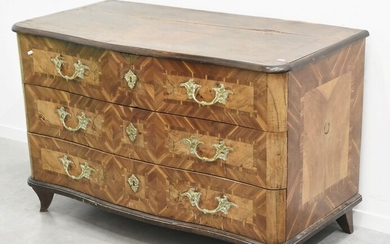 3-storey baroque chest of drawers with fire-gilded brass handles, elaborately...