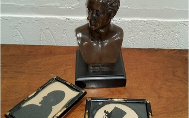A Bronze bust of Lord Byron on square slate plinth H15cm; a...